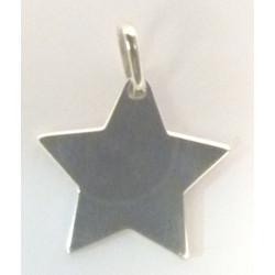 Pendentif gravé étoile en Argent